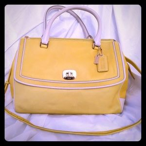 Coach yellow leather satchel bag